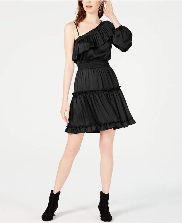 Bar III One-Shoulder Ruffled Dress