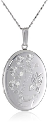 Amazon Collection Sterling Silver Engraved Flowers Oval Locket