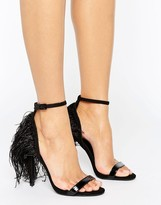 Little Mistress Patent Two Strap Feathered Heeled Sandal