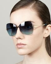 Tory Burch Rimless Butterfly Sunglasses, Blue