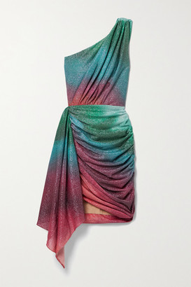 PatBO Sunset One-shoulder Draped Ruched Ombre Lurex Mini Dress - Turquoise