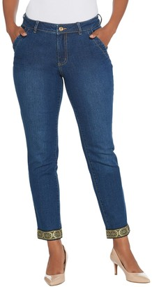 Du Jour Slim Leg Ankle Jeans with Metallic Trim Detail