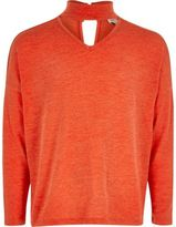 River Island Girls Red slouch knit choker jumper