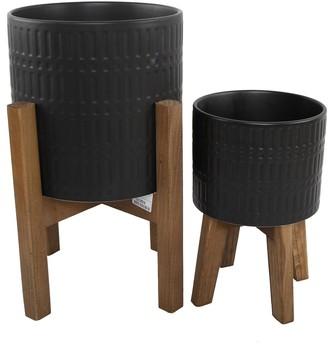 "Flora Bunda 10"" & 8"" Roman Ceramic Planter on Wood Stand - Set of 2 - Matte Black"
