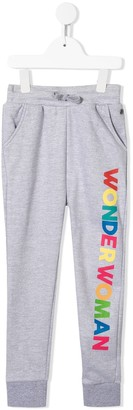 Little Eleven Paris Wonderwoman print track trousers