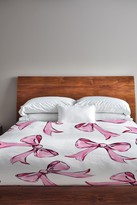 Hello Beautiful & Bow Pink White Fleece Full Queen Duvet Cover by TImree