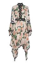 Costarellos Lace-Trimmed Floral Georgette Midi Dress
