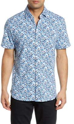 Stone Rose Regular Fit Leaf Print Performance Knit Shirt