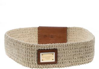Dolce & Gabbana Beige/Brown Fabric Elastic Belt 80cm