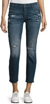 DL1961 Premium Denim Davis Distressed Skinny Boyfriend Cropped Jeans, Ravage