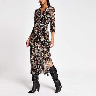 River Island Black print long sleeve sheer shirt dress