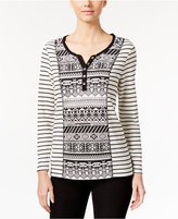 Style&Co. Style & Co. Printed Jacquard Henley Top, Only at Macy's