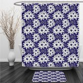 Vipsung Shower Curtain And Ground MatNavy BlueFloral Authentic Patterns with Alternate Simplistic Features Nature Artsy Illustration Navy WhiteShower Curtain Set with Bath Mats Rugs