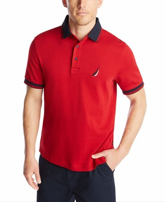 Nautica Men's Short Sleeve 100% Cotton Tipped Polo Shirt