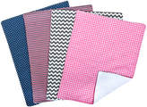 Trend Lab Pink & Navy Perfectly Pretty Burp Cloth - Set of Four
