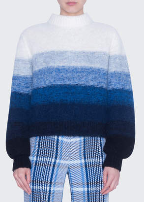 Akris Punto Colorblock Alpaca-Blend Mock-Neck Sweater