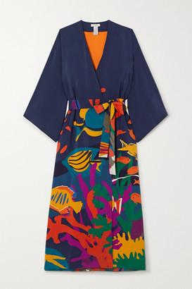 Eres Printed Silk Robe - Navy