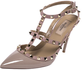 Valentino Beige Patent Leather Rockstud Ankle Strap Sandals Size 38