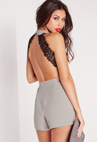 Missguided Open Back Lace Insert Romper Grey