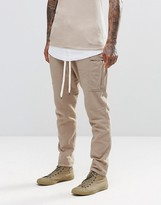 Asos Drop Crotch Joggers In Lightweight Fabric With Cargo Pockets In Sand