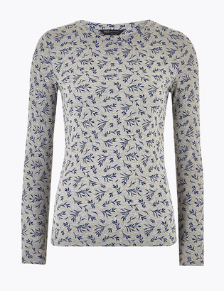 Marks and Spencer Pure Cotton Printed Regular Fit Top