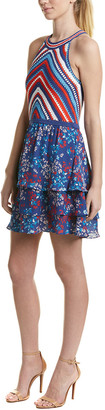 Parker Waverly Silk-Skirt A-Line Dress