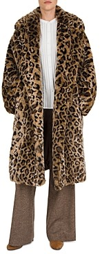 Gerard Darel Arianna Leopard Faux-Fur Coat