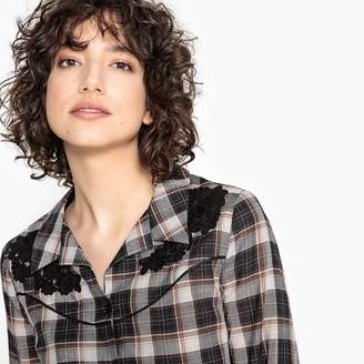La Redoute Collections Checked Shirt with Floral Embroidery