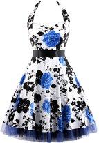 OTEN Women's Floral Vintage 1950s Halter Rockabilly Gown Cocktail Party Dress (3X-Large, )