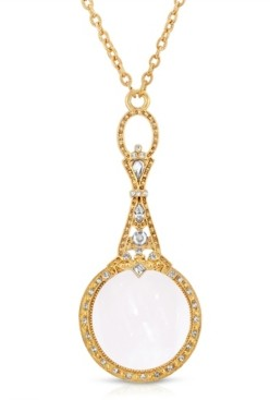 "2028 Gold Tone Crystal Accented Magnifying Glass 28"" Necklace"