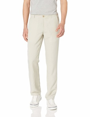 Amazon Essentials Slim-fit Flat-front Linen Pant Casual (Light Beige) Small