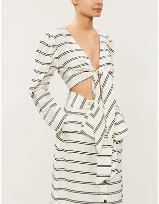 Lisa Marie Fernandez Striped tie-front crepe blouse
