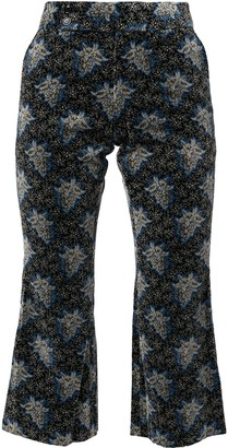 Comme Des Garçons Pre-Owned Grape Print Velvet Cropped Trousers