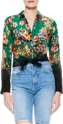 Alice + Olivia Eloise Floral Button-Down Blouse