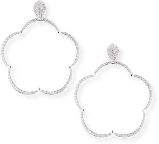 Pasquale Bruni Ton Jolie Diamond Floral Hoop Drop Earrings in 18k White Gold