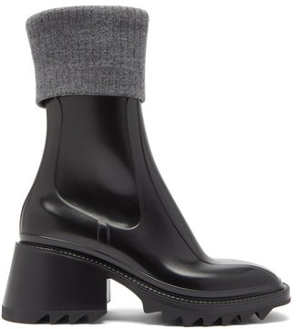 Chloé Betty Ribbed Wool & Rubber Boots - Black