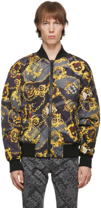 Versace Jeans Couture Reversible Black Baroque Bomber Jacket