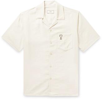 Ami Camp-Collar Logo-Embroidered Woven Shirt - Men
