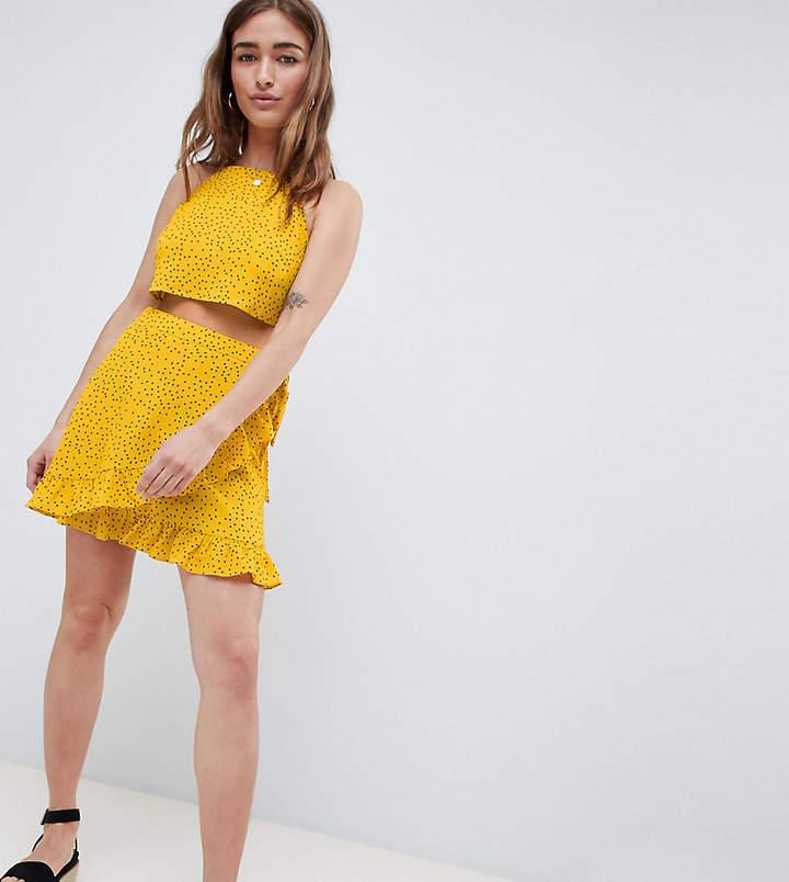Glamorous Petite Wrap Mini Skirt With Frill Hem In Ditsy Spot Co-Ord