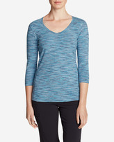 Eddie Bauer Women's Lookout 3/4-Sleeve V-Neck T-Shirt - Spacedye
