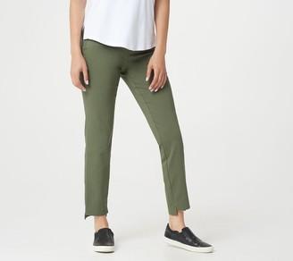 Martha Stewart Regular Stretch Twill Pull-On Ankle Pants with Step Hem