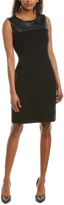 St. John Leather-Trim Wool-Blend Sheath Dress