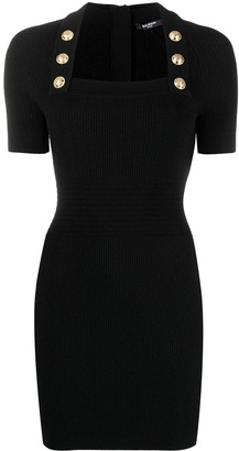 Balmain Square Neck Fitted Dress