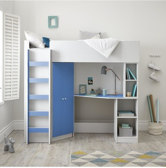 Miami Fresh High Sleeper Bed with Desk, Wardrobe and Shelves - Blue