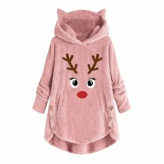 Naihen Christmas Hoodie for Women Ladies Xmas Embroidery Reindeer Printed Button Hooded Sweatshirt Pullover Jumper Winter Faux Fleece Teddy Bear Coat Outwear Plus Size Pink