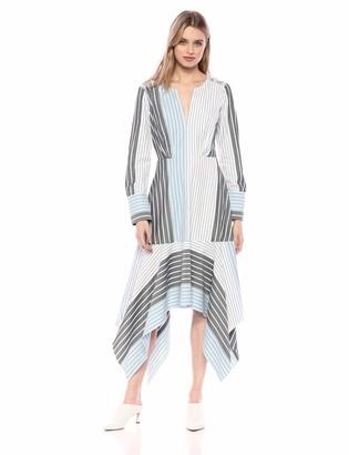 BCBGMAXAZRIA Azria Women's Mixed Stripe Patchwork Dress Multi Print