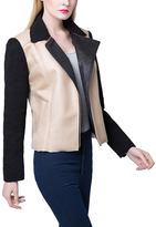 Beige & Black Faux Shearling Jacket