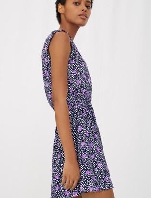 Maje Printed crepe dress with smocking