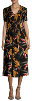 Fendi Silk Print Pleated Midi Dress