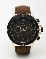 Asos Oversized Heavyweight Watch In Black And Rose Gold